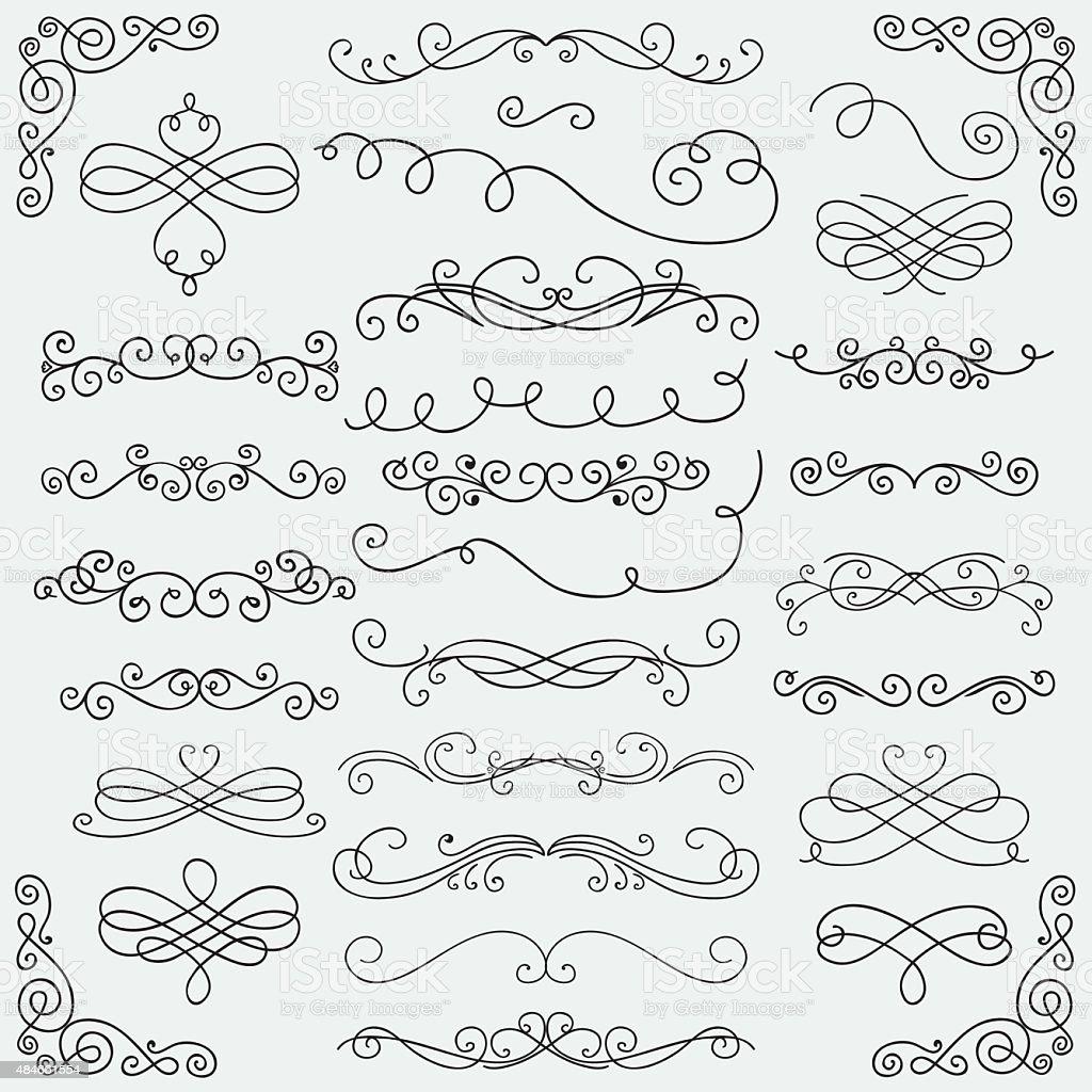 Vector noir Doodle tourbillons Collection dessiné à la main - Illustration vectorielle
