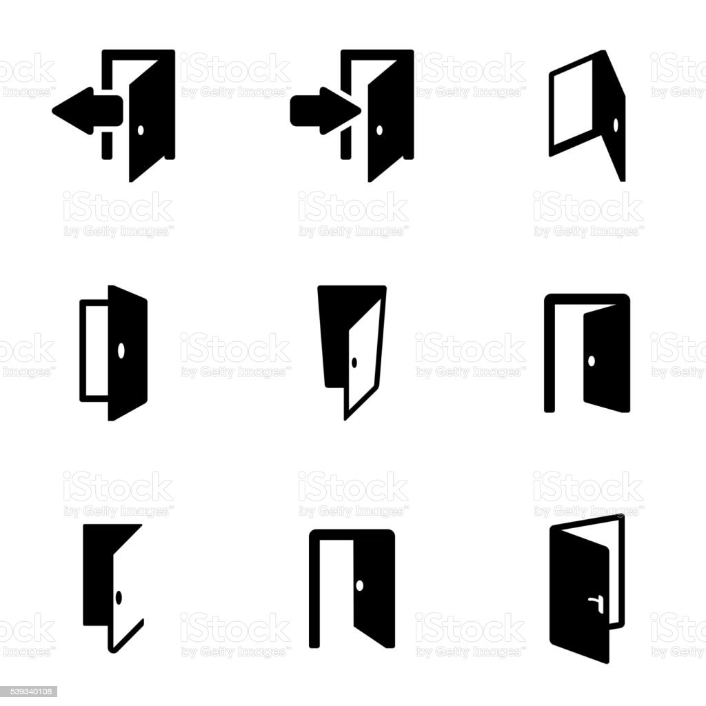 Vector black door icon set vector art illustration