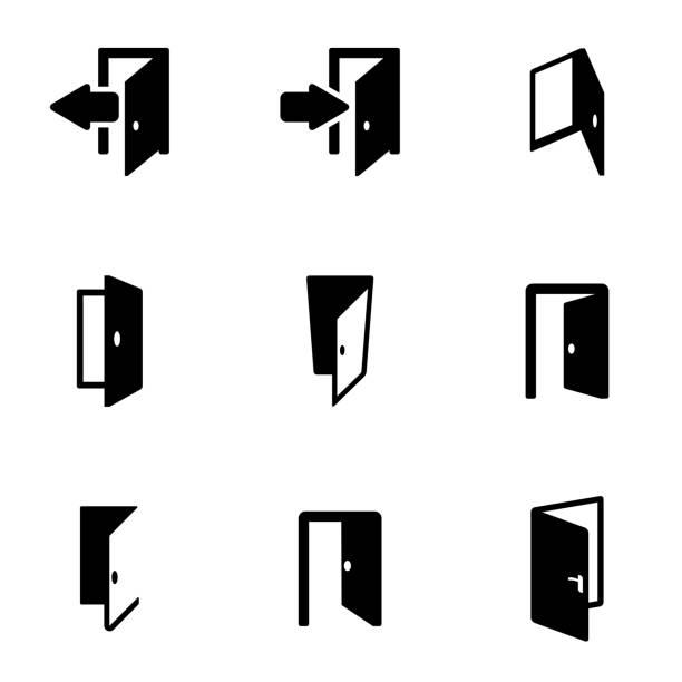 Vector black door icon set Vector black door icon set entrance sign stock illustrations