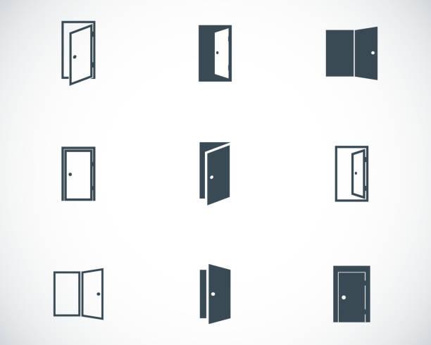 Vector black door icons set Vector black door icons set on white background door stock illustrations