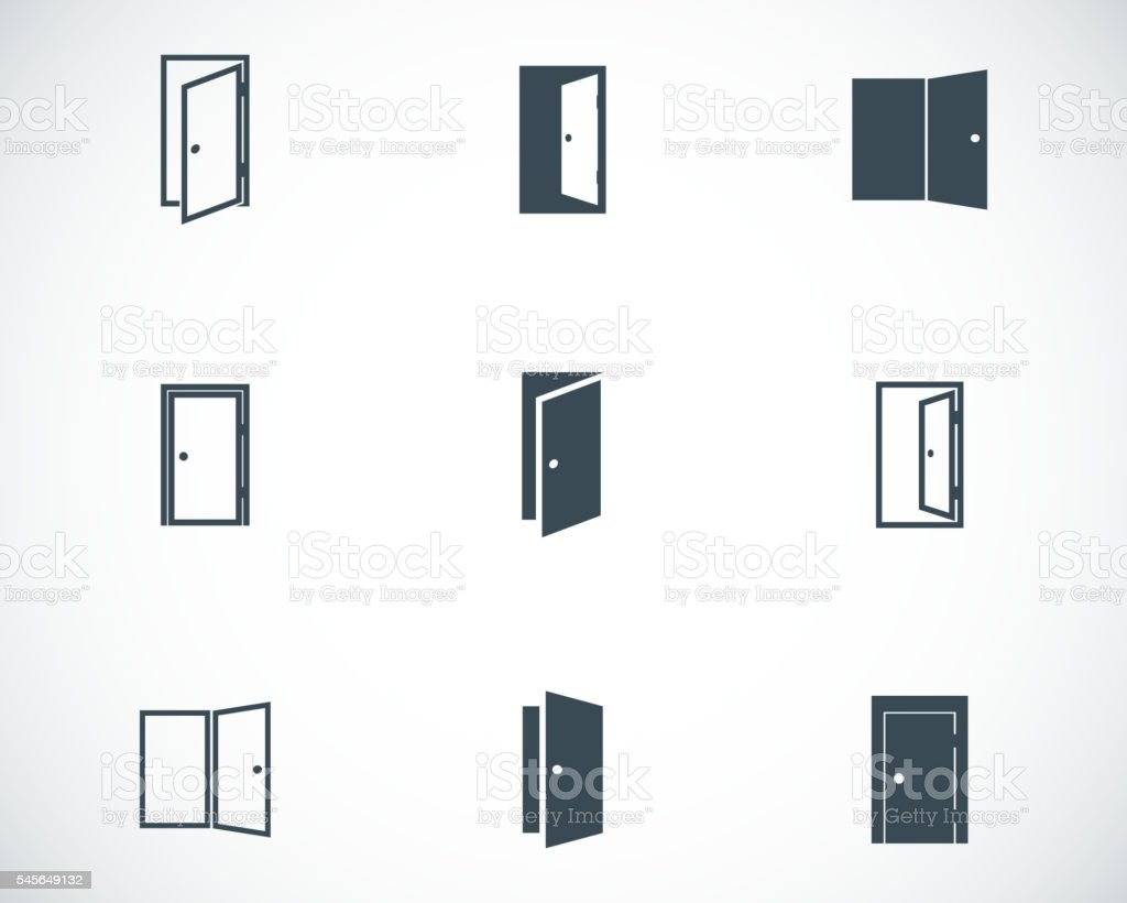 Vector black door icons set vector art illustration
