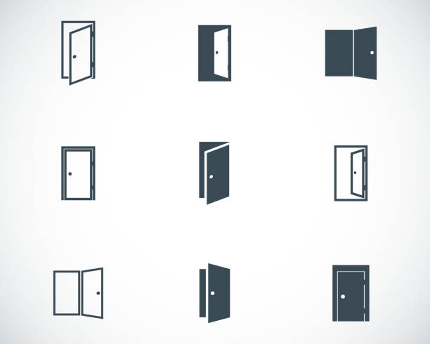 Vector black door icons set Vector black door icons set on white background door stock illustrations
