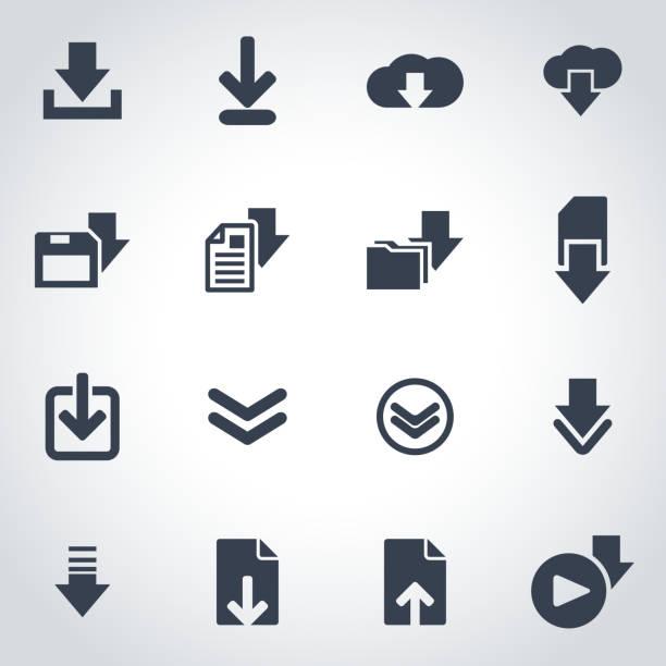 Vector black download  icon set vector art illustration