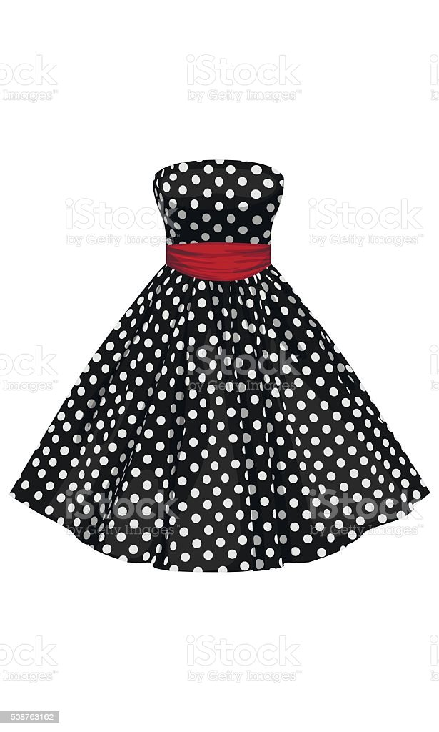 Vector black dress with white polka dots vector art illustration