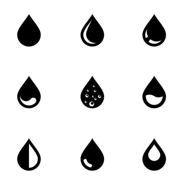 stockillustraties, clipart, cartoons en iconen met vector black drop icon set - druppel