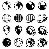 Vector black earth globe icons