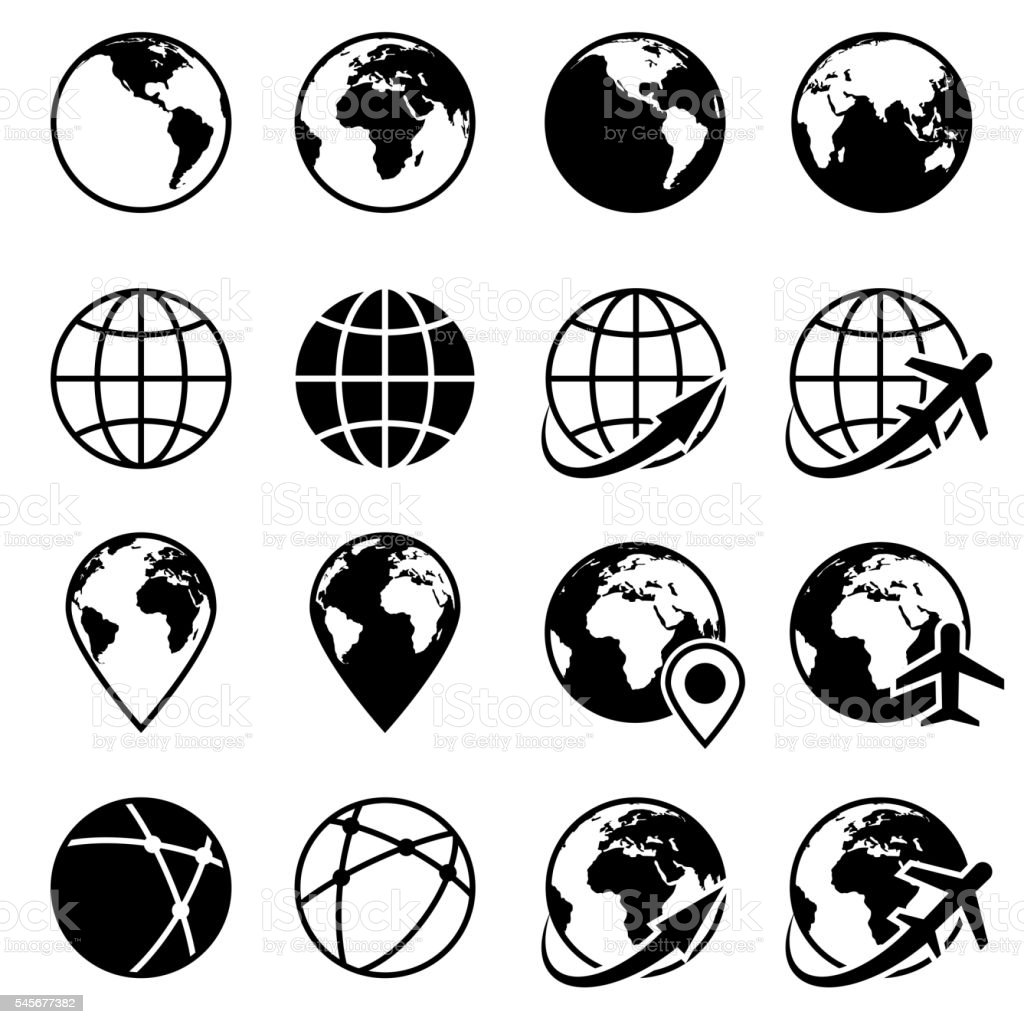 Vector black earth globe icons vector art illustration