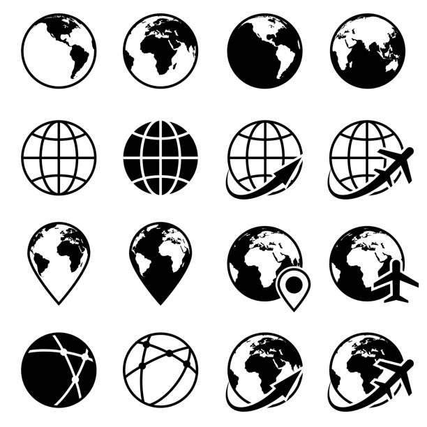 vector black earth globe icons - globes stock illustrations, clip art, cartoons, & icons