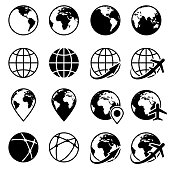 Vector black earth globe icons