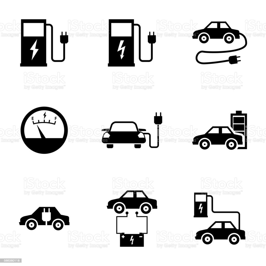 Vector black electric car icons set vector art illustration