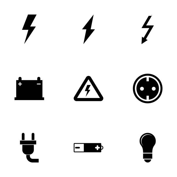 vector black electricity icon set - elektrik stock illustrations