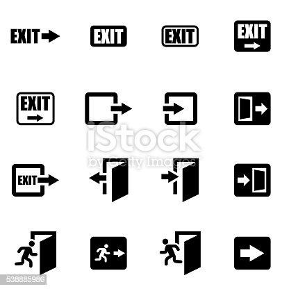 Vector black exit icon set on white background