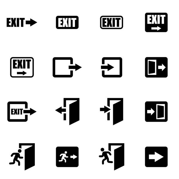stockillustraties, clipart, cartoons en iconen met vector black exit icon set - ingang