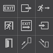 Vector black exit icons set