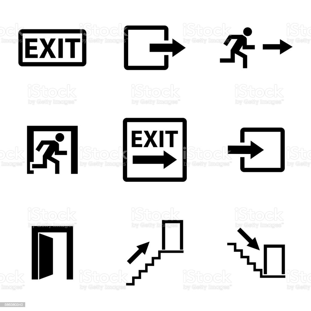Vector black exit icons set vector art illustration