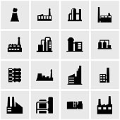 Vector black factory icon set