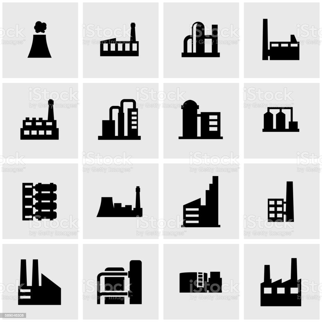 Vector black factory icon set vector art illustration