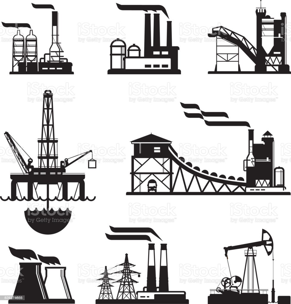 vector black factory icons set on gray vector art illustration