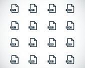 Vector black  file format  icons set