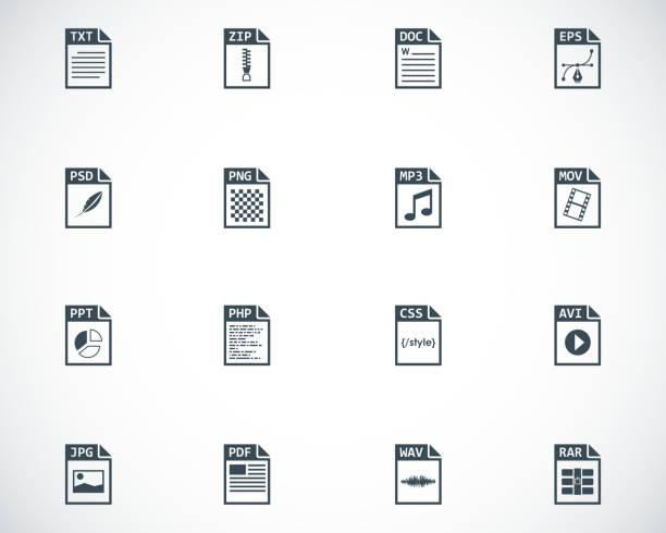Vector black file type icons setvectorkunst illustratie