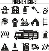 Vector black firefighter icons set on white background