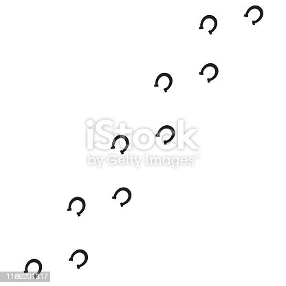Vector black flat horse shoe steps footprints road isolated on white background