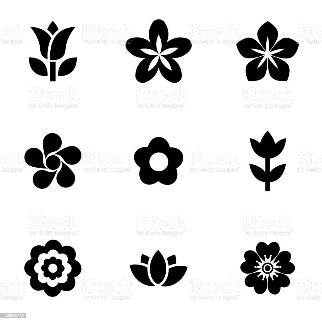 Vektor schwarze Blumen Symbol-set – Vektorgrafik