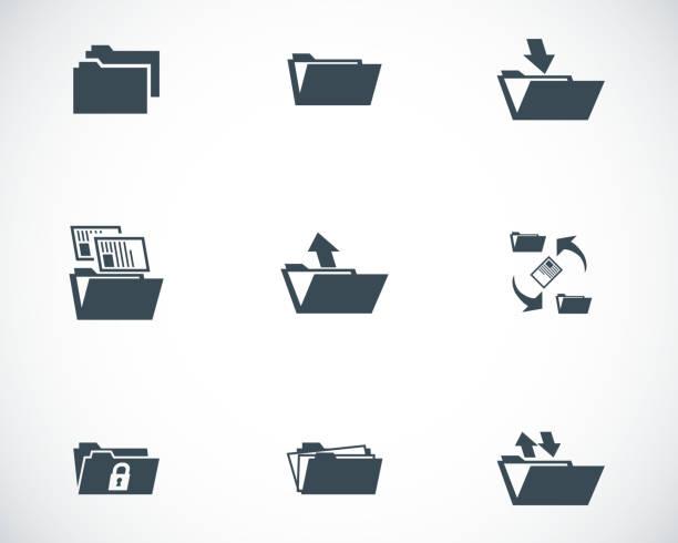 vektor schwarz ordner-icons satz - mappen stock-grafiken, -clipart, -cartoons und -symbole