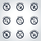Vector black food dietary labels icon set