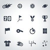 Vector black football icon set