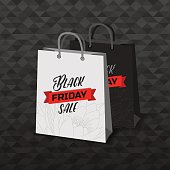 Vector Black Friday black and white shopping bags. Sale advertising objects on seamless background