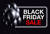 Vector Black Friday Sale Banner with Black Balloons.