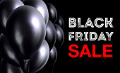 Vector illustration. Black Friday sale banner with black balloons.