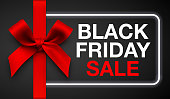 Vector illustration. Black Friday sale banner with red gift bow and ribbon.