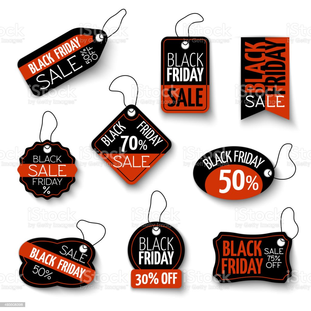 Vector black friday sales tag and banners vector set vector art illustration