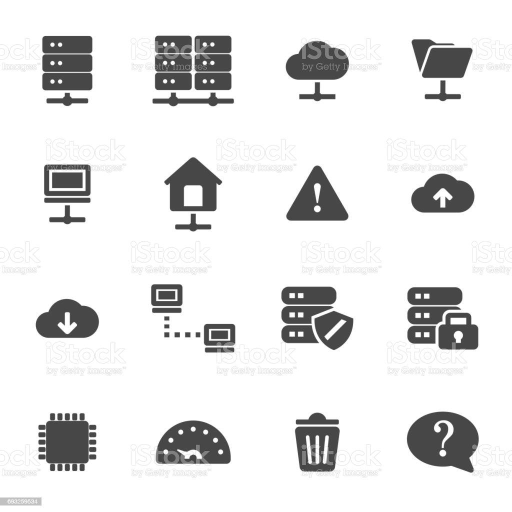 Vector black ftp icons set vector art illustration