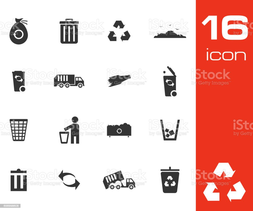 Vector black garbage icons set vector art illustration