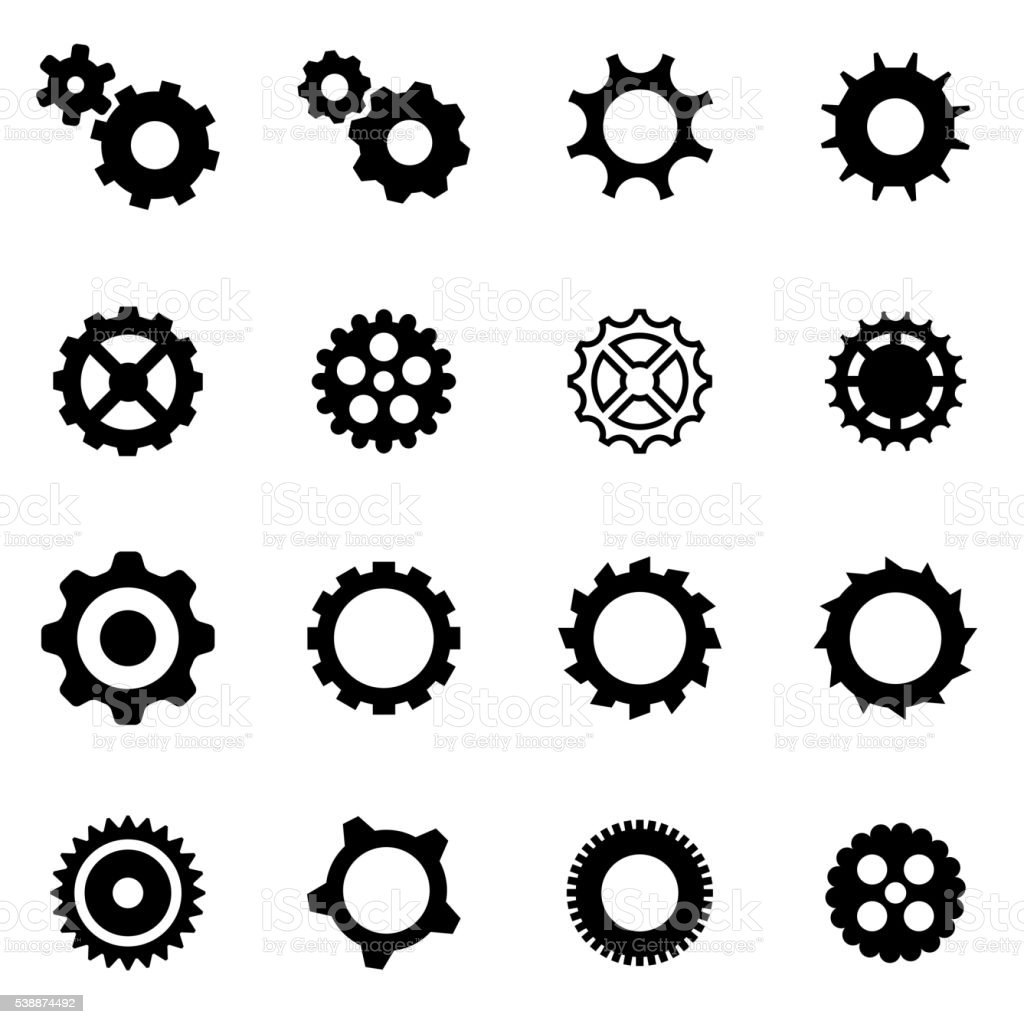 Vector black gear icon set vector art illustration