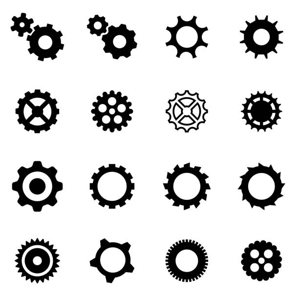 Vector black gear icon set vector art illustration