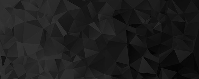 Vector Black geometric background design. Horizontal Geometrical background, header, footer in Origami style with gradient. Design for your background, cover, poster, banner, flyer, brochure