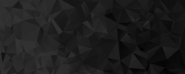 wektor czarny geometryczny projekt tła. poziome tło geometryczne, nagłówek, stopka w stylu origami z gradientem. projekt tła, okładka, plakat, baner, ulotka, broszura - ciemny stock illustrations