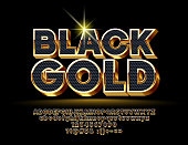Vector Black Gold Alphabet Letters, Numbers an Symbols