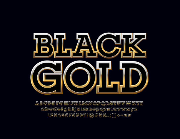 Vector Black Gold Alphabet Letters, Numbers and Symbols vector art illustration
