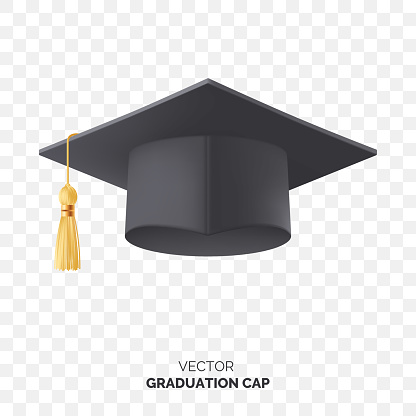Vector black graduate cap with gold tassel isolated on transparent background. Square academic cap for graduation ceremony. Element for your design. Eps 10.