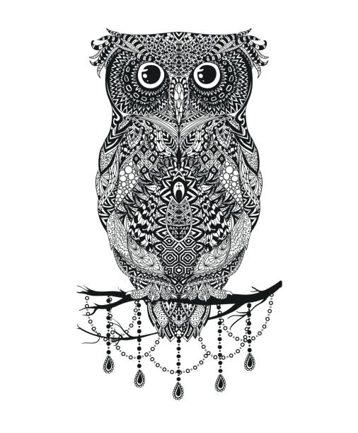 vector black hand drawn owl sitting on branch illustration - black and white owl stock illustrations, clip art, cartoons, & icons