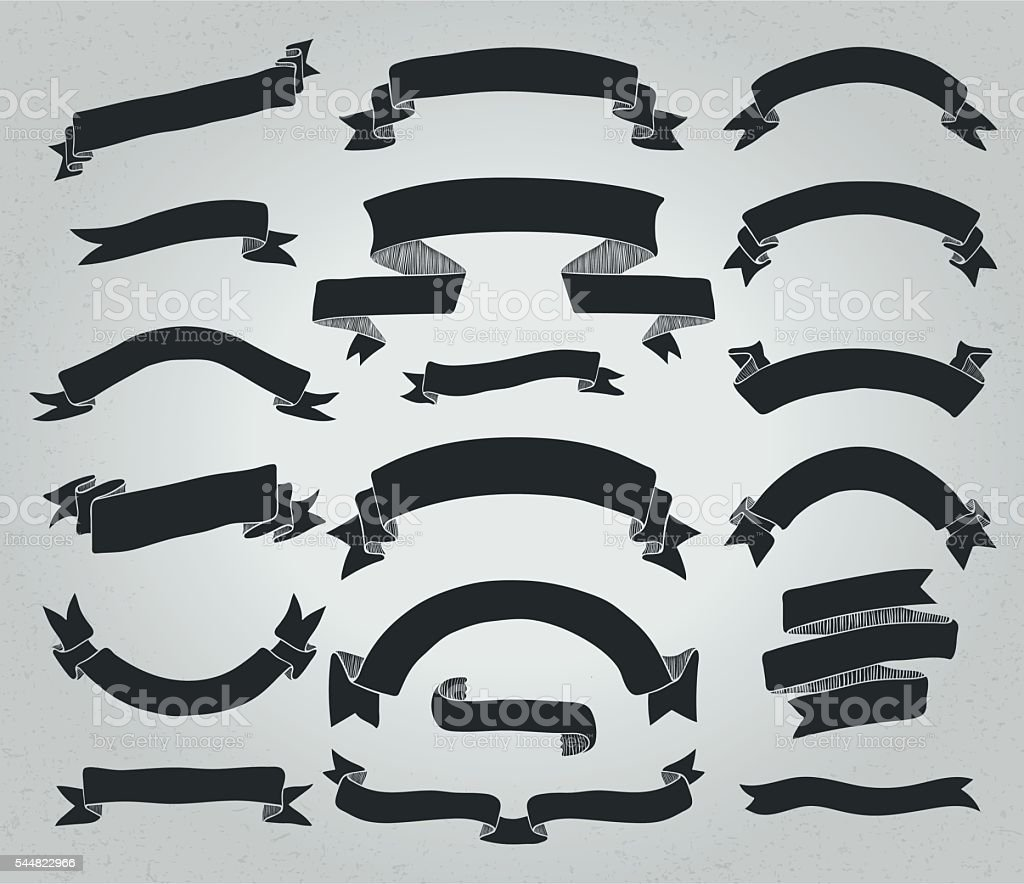 Vector Black Hand Drawn Rustic Ribbons Banners Shapes Royalty Free