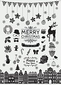Vector Black Hand Sketched Christmas Doodle Icons