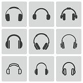 Vector black headphone icons set on grey background