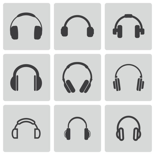 Vector black headphone icons set Vector black headphone icons set on grey background headphones stock illustrations