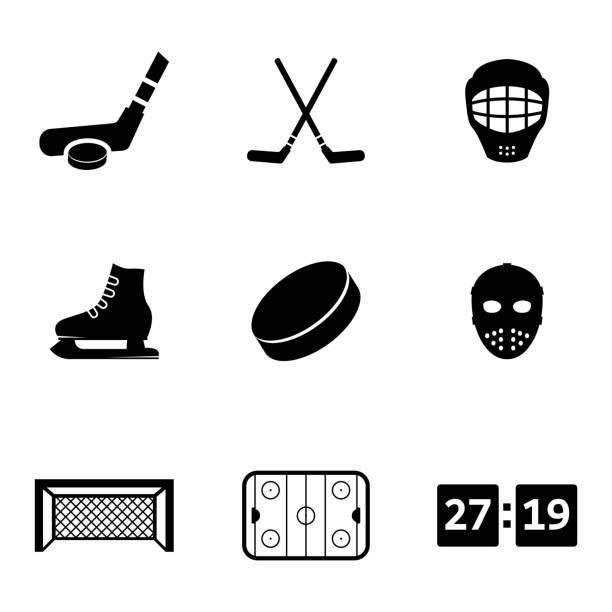 ilustrações, clipart, desenhos animados e ícones de vector conjunto de ícones pretos hóquei no gelo - hóquei